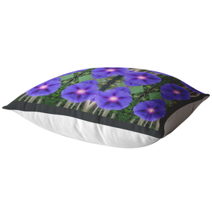 Glorious Morning Glory Flowers Pillow