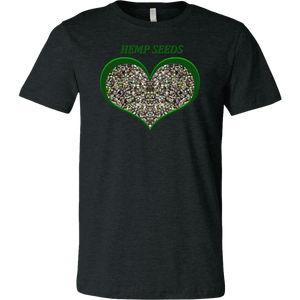Show Some Love for Hemp Seeds in Green Heart T-shirt