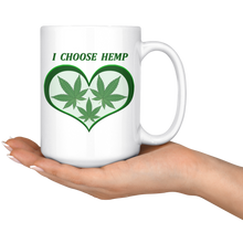 "Load image into Gallery viewer, ""I Choose Hemp"" Hemp Leaves framed in a Green Heart  - 15 oz. white ceramic mug"