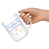 Two Hearts Meet Love is Love-15 oz Coffee Mug