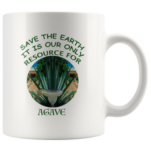 "Load image into Gallery viewer, ""Save the Earth-It Is Our Only Resource for Agave"" Agave plant behind a Margerita - 11 oz. white ceramic mug"