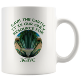 """Save the Earth-It Is Our Only Resource for Agave"" Agave plant behind a Margerita - 11 oz. white ceramic mug"
