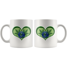 Load image into Gallery viewer, Hemp Leaves and Planet Earth framed in a Green Heart - 11 oz. white ceramic mug