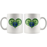 Hemp Leaves and Planet Earth framed in a Green Heart - 11 oz. white ceramic mug