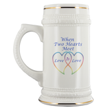Two Hearts Meet Love is-22oz Ceramic Stein