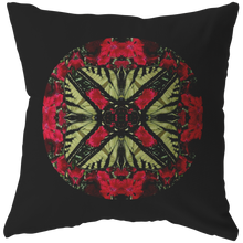 Load image into Gallery viewer, Swallowtail Butterfly on Dianthus Flower Mandala Pillow