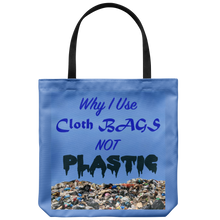 "Load image into Gallery viewer, Dramatic image on an 18"" Reusuable Tote Bag Suggests Why Use Cloth Bags to Protect Mother Earth's Environment"