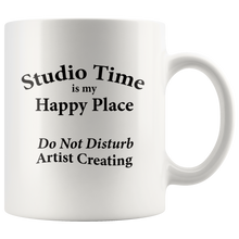 "Load image into Gallery viewer, ""Studio Time Is Artist's Happy Place"" - 12 oz coffee mug"