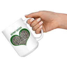 Load image into Gallery viewer, Hemp Seeds in a Green Heart - 15 oz. white ceramic mug