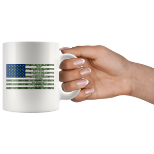 Hemp For a Sustainable - 11oz White Coffee Mug - Hemp Leaves Behind American Flag