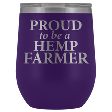 Load image into Gallery viewer, Proud To Be A Hemp Farmer - 12 0z Lidded Wine or Water Tumbler