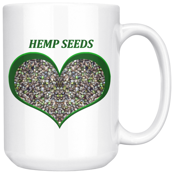 Hemp Seeds in a Green Heart - 15 oz. white ceramic mug