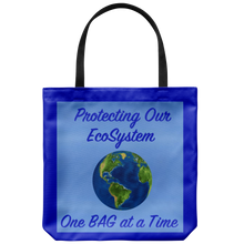 "Load image into Gallery viewer, ""One Bag at a Time"" Suggests a Way to Protect Mother Earth's EcoSystem on an 18"" Reusable Tote Bag"