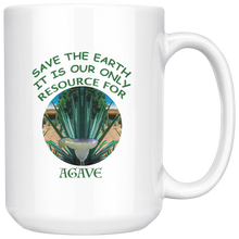 "Load image into Gallery viewer, ""Save the Earth-It Is Our Only Resource for Agave"" Agave plant behind a Margerita - 15 oz. white ceramic mug"