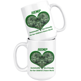 Hemp For Our Children's Future - 15 oz. white ceramic mug - Hemp Flowers in a Green Heart