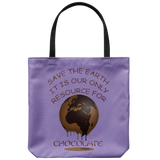 """Save The Earth for Chocolate"" Image of a Melting Brown Earth on an 18"" Reusable Tote Bag"