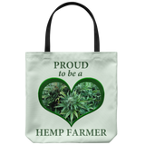 """Proud to be a Hemp Farmer"" is proclaimed on 18"" Reusable Tote Bag."