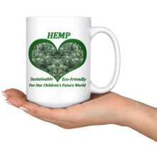 Load image into Gallery viewer, Hemp For Our Children's Future - 15 oz. white ceramic mug - Hemp Flowers in a Green Heart