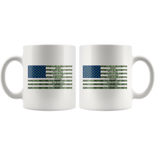 Load image into Gallery viewer, Hemp For a Sustainable - 11oz White Coffee Mug - Hemp Leaves Behind American Flag