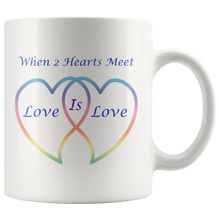 Load image into Gallery viewer, Two Hearts Meet Love is Love in Rainbow Hearts 11 wht
