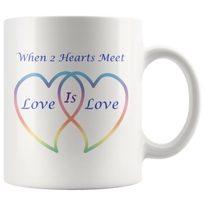 Two Hearts Meet Love is Love in Rainbow Hearts 11 wht