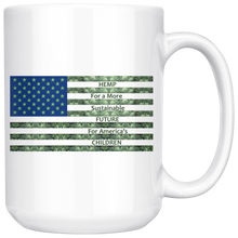 Load image into Gallery viewer, Hemp For a Sustainable - 15oz White Coffee Mug - Hemp Leaves Behind American Flag