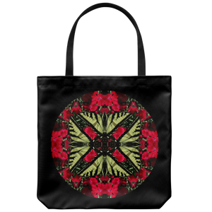 Swallowtail Butterfly On Red Dianthus Kaleidoscope-Tote Bag