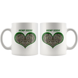 Hemp Seeds in a Green Heart - 11 oz. white ceramic mug