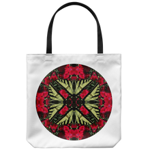 Load image into Gallery viewer, Swallowtail Butterfly On Red Dianthus Kaleidoscope-Tote Bag