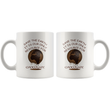 """Save the Earth-It Is Our Only Resource for Chocolate"" Mother Earth Melting - 11 oz. white ceramic mug"