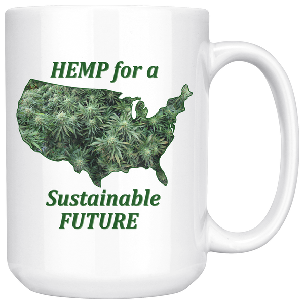 """Hemp for a Sustainable Future"" Hemp Flowers inside an outiline of the USA  - 15 oz. white ceramic mug"