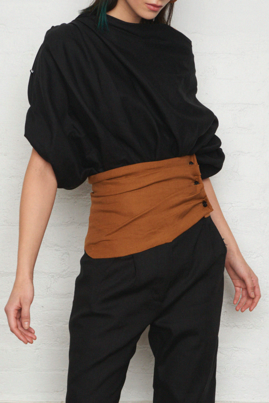 Oversized Boatneck Top w/ Button Sleeves