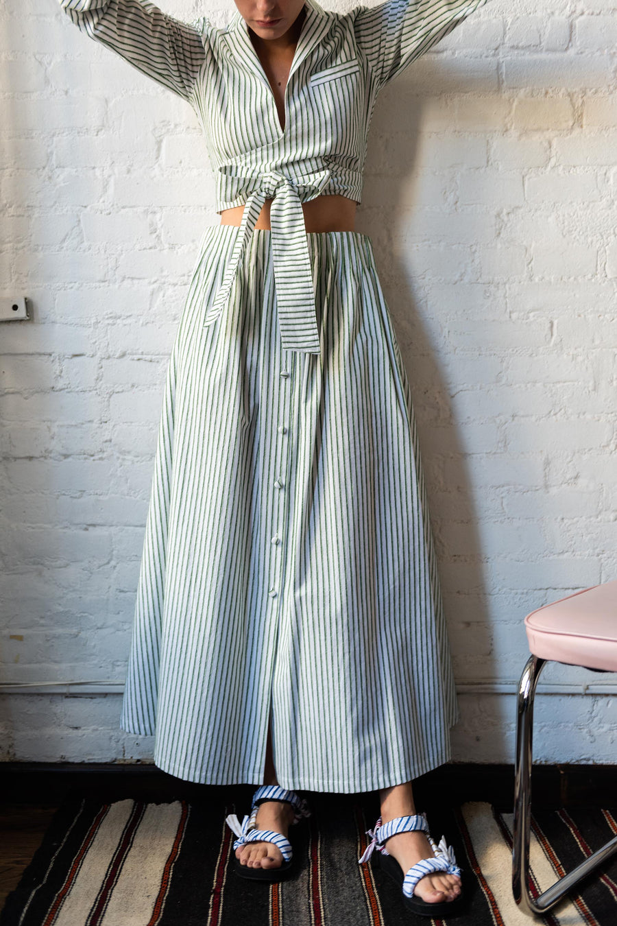 Shirred Waist Tea Skirt