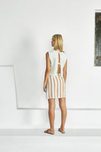 Load image into Gallery viewer, Ilona Skirt - Maryel Stripe by Sancia Online at Jessie sue with FREE EXPRESS shipping in Australia, no minimum spend, AFTERPAY, FREE RETURNS within Australia, 100% SAFE & SECURE. ILONA IS NAMED FOR OUR FAVOURITE AUSSIE STYLIST WITH THE COOLEST POSSIBLE MAGAZINE. OH, AND THE COOLEST GIRLFRIENDS TOO. MINIMAL, SLEEK AND UTTERLY TIMELESS, OUR ILONA LOOKS AS GOOD WITH A HALTER TOP AS SHE DOES WITH A COTTON TANK. IS IT BECAUSE YOUR LEGS ARE DOING ALL THE HEAVY LIFTING? WE'LL LEAVE THAT UP TO YOU.
