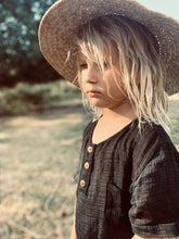 Load image into Gallery viewer, Arlo Top Black, King Raja Organics, Boys Kids Clothes, Organic Kids Clothing Australia