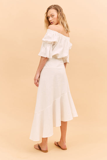 Before Anyone Else Clothing Amyris Skirt White Resort wear Australia Resort wear clothing Sustainable clothing Free Express Shipping Sustainable midi skirts ethical midi skirts Linen midi skirts