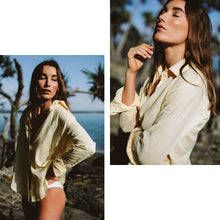 Load image into Gallery viewer, Before Anyone Else Timeless Linen Shirt Mellow Yellow, free shipping, Sustainable shirts, ethical shirts, Linen shirts, Collar shirts, yellow shirts, summer shirts, beach shirts, laid back luxe shirts, bohemian shirts, wardrobe staples