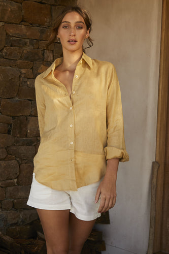 Before Anyone Else Timeless Linen Shirt Blue Sky, free shipping, Sustainable shirts, ethical shirts, Linen shirts, Collar shirts, mustard shirts, summer shirts, beach shirts, laid back luxe shirts, bohemian shirts, wardrobe staples