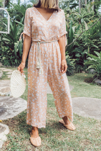 Pia Jumpsuit by Thatch and Catcher online at Jessie sue with FREE EXPRESS shipping in Australia, no minimum spend, AFTERPAY, RETURNS, 100% SAFE & SECURE. Ankle Grazing Jumpsuit, Tie detail to Sleeve. 100% Hand Printed Rayon. All of Thatch and Catchers pieces are hand made with love.