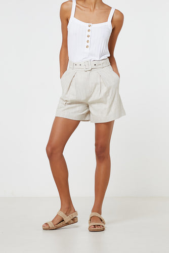 Elka Collective Ornella Short Natural, free shipping, Sustainable shorts, ethical shorts, tailored shorts, linen shorts, cotton shorts, laid back luxe shorts, summer shorts, off duty shorts, on duty shorts, wardrobe staples