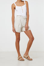 Load image into Gallery viewer, Elka Collective Ornella Short Natural, free shipping, Sustainable shorts, ethical shorts, tailored shorts, linen shorts, cotton shorts, laid back luxe shorts, summer shorts, off duty shorts, on duty shorts, wardrobe staples