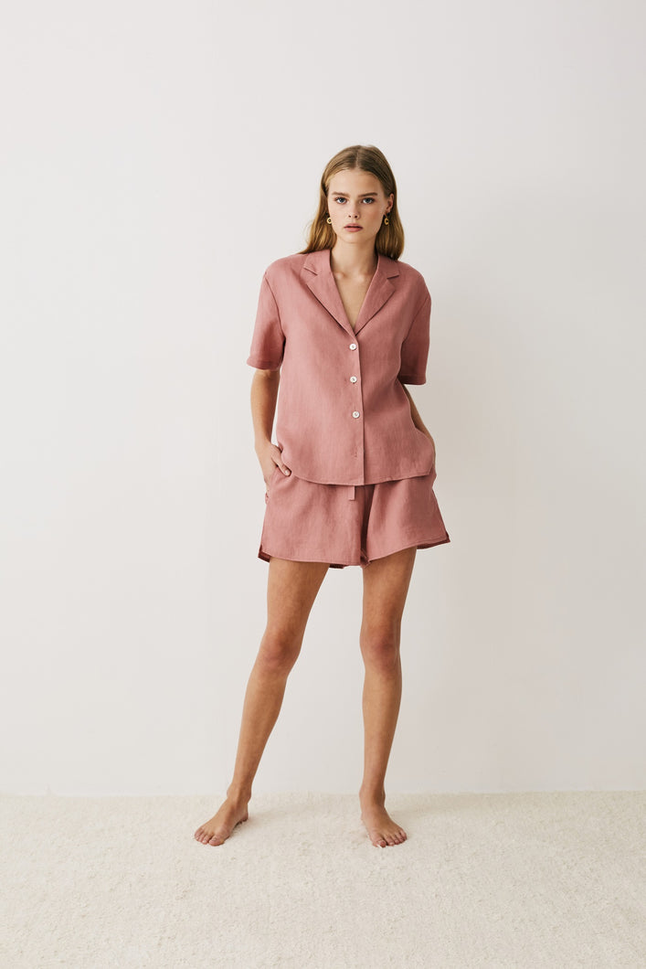 Jord Remy Short – Rosewood Pink Linen Womens linen short womens sleepwear womens pink linen leisurewear womens relaxed linen short Free Express Shipping Free Standard Shipping Worldwide Afterpay $20 off your first order