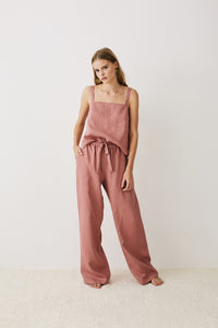 Jord Dylan Cami Top – Rosewood Pink Linen Womens cami top womens camisole top womens white linen leisurewear Free Express Shipping Loungewear Australia