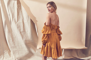 Lune Resport Tango Shoulder Dress, free shipping, Sustainable dresses, ethical dresses, womens dresses, mustard dresses, cotton dresses, off the shoulder dresses, cocktail dresses, day dresses, autumn dresses, laid back luxe dresses, classic dresses