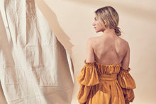 Load image into Gallery viewer, Lune Resport Tango Shoulder Dress, free shipping, Sustainable dresses, ethical dresses, womens dresses, mustard dresses, cotton dresses, off the shoulder dresses, cocktail dresses, day dresses, autumn dresses, laid back luxe dresses, classic dresses