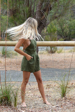 Load image into Gallery viewer, Rue Stiic Nora Romper Mustang Green, free shipping, Rue Stiic Rompers, sustainable rompers, ethical rompers, green rompers, linen rompers, viscose rompers, bohemian rompers, summer new arrivals