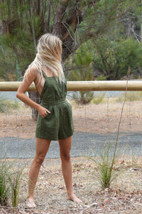 Rue Stiic Nora Romper Mustang Green, free shipping, Rue Stiic Rompers, sustainable rompers, ethical rompers, green rompers, linen rompers, viscose rompers, bohemian rompers, summer new arrivals