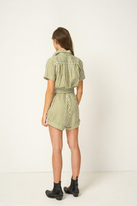 Rue Stiic Tyler Romper Copperfield Stripe Sage, free shipping, Rue Stiic Rompers, sustainable playsuits, sustainable rompers ethical jumpsuits, ethical rompers, sage stripe playsuits, linen playsuits, linen rompers, viscose playsuits, viscose rompers, laid back luxe playsuits, bohemian playsuits