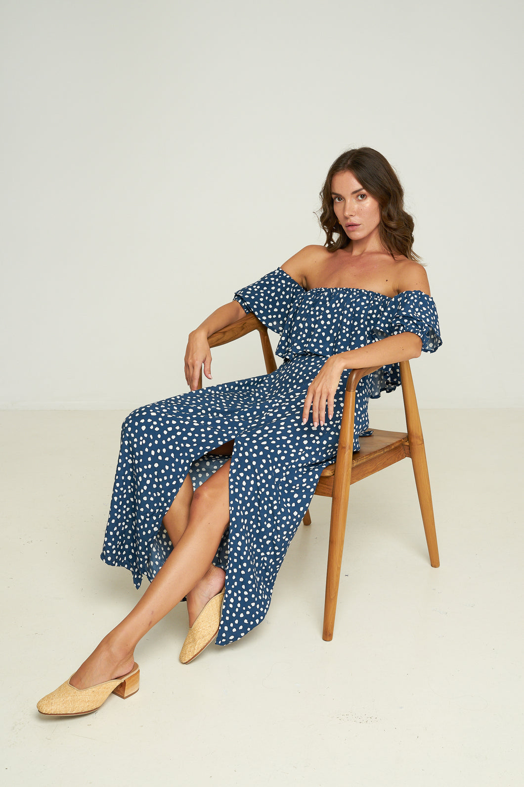 Rue Stiic Carla Dress Pebbles Navy, free shipping, Sustainable dresses, ethical dresses, off the shoulder dresses, spot print dresses, rayon dresses, midi dresses, handmade dresses, summer dresses, laid back luxe dresses, bohemian dresses, off duty dresses, on duty dresses, wardrobe staples