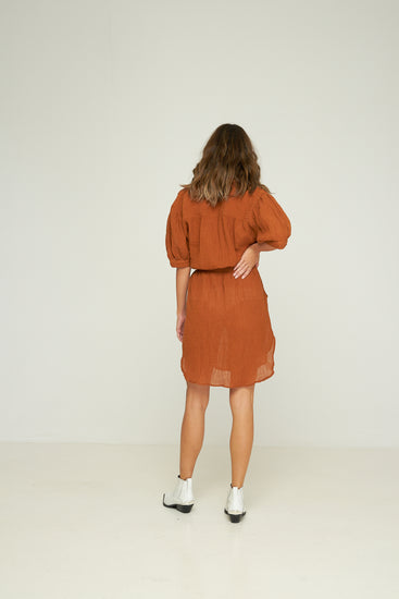 Rue Stiic Celia Shirt Dress Terracotta, free shipping, Sustainable dresses, ethical dresses, terracotta dresses, cotton dresses, ramie dresses, shirt dresses, summer dresses, laid back luxe dresses, bohemian dresses